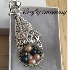 Tear Drop Pendant Cage Locket Necklace For Pearls Or Aromatherapy USA SELLER