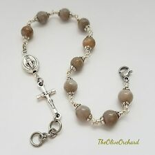 Handmade Natural Coral Fossil Jaspers Miraculous Medal Rosary Bracelet