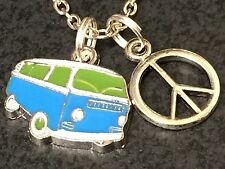 "VW Bus & Peace Sign Charms Tibetan Silver with 18"" Necklace"