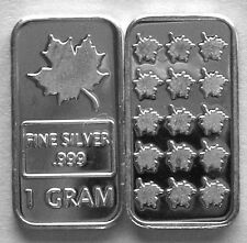 (100) 1 GRAM .999 PURE SILVER MAPLE LEAF BARS