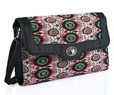 New Printed Multi Colour Clutch or Cross Body Handbag with Black Trim