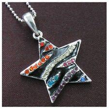 Multi Colored Zebra Stripe Enamel Star Necklace Ball Chain Pendant Silver Tone