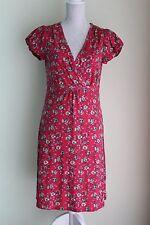 Size 12 EU 40 MANTARAY Red Dress V-Neck 100% Cotton VGC (119)