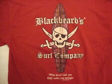 Blackbeard's Surf Company Aruba Surfing Apparel Red Cotton T Shirt Size M