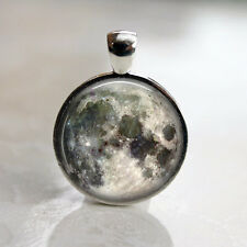Full Moon Space Lunar Image Necklace Pendant and 24in Chain Antique Silver