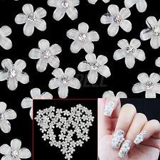 50 Adesivo Stickers Fiore Fioretto Strass 10mm Decorazione Unghie Nail Art Moda