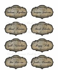 8 Potion apothecary labels Halloween glossy party decoration bat zombie vampire