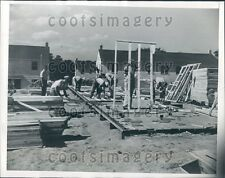 1944 Workmen Building Prefabricated Home Press Photo
