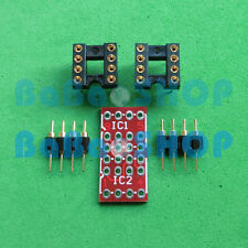 2 sets DIP to DIP Dual to Mono Opamp PCB Adapter KIT PCB+PIN+DIP SOCKET New
