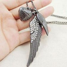 New Vintage Gun Black Crystal Angel Wing Retro Style Pendant Chain Necklace