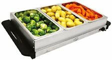 NEW! Stainless Steel 3 Pan Large Buffet Food Server & Warmer Hot Plate Tray