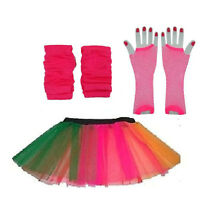 Neon Rainbow Striped Tutu,Gloves & Legwarmers 1980s 80s Fancy Dress All Sizes