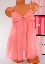 NWT VICTORIA'S SECRET Lingerie VS Fly-away Tulle Lace Babydoll Unlined S Peach