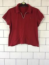 WOMEN'S TOMMY HILFIGER URBAN VINTAGE RETRO RED SHORT SLEEVE T SHIRT TOP UK 16