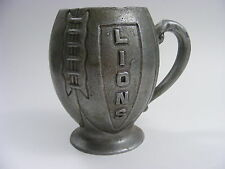Detroit Lions Football Shaped Figural Pewter Mug Vintage 1960's
