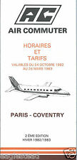 Airline Timetable - Air Commuter - Hiver Winter 82 83 - 2nd Edition
