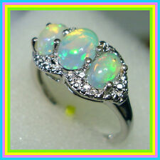 Ethiopian Welo Opal 3-stone Ring Platinum over Sterling Silver 925 sz 6