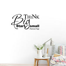 Big Think Start Small Quote Wall Sticker Vinyl Removable Home Decor Black Wall
