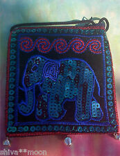 HIPPY BOHO EMBROIDERED ELEPHANT PASSPORT SHOULDER BAG PURSE 12ME BLUE TEAL