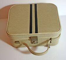 Vintage beige & black vinyl vanity case with mirror and key c1960s