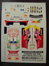 DECALS 1/43 CITROËN DS3 WRC #1 S.LOEB MEXICO 2011 - COLORADO  43220
