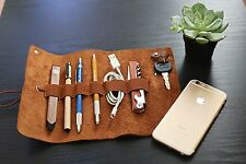 Leather Cord Wrap Case - EDC Pen Makeup Tools Cable Holder Essentials Organizer