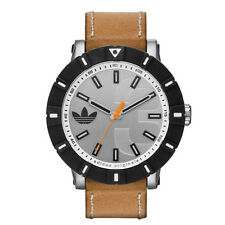 BRAND NEW ADIDAS ORIGINALS ADH2999 AMSTERDAM TAN LEATHER STRAP SILVER CASE WATCH