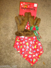 "Impawsters brown reindeer ""pretendears"" and red holiday print kerchief NWT"