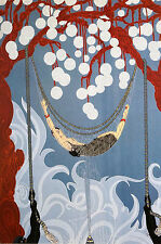 Erte 1982 GIRL SLEEPING in a SPIDER WEB HAMMOCK Art Deco Fashion Print Matted