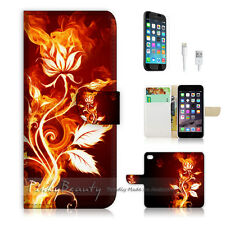 """iPhone 6 (4.7"""") Print Flip Wallet Case Cover! Flame Flower P0381"""