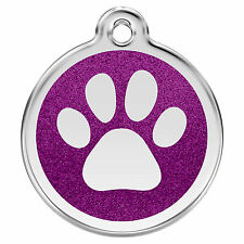 Glitter Paw Print Engraved Dog ID Tags / Discs by Red Dingo (XPP)