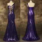 LONG Mermaid Formal Prom Peacock Dresses Party SLIM Evening Pageant Wedding Gown