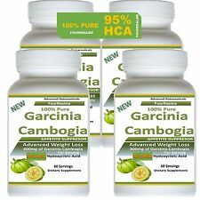 4 Pack PURE 100% Pure Garcinia Cambogia  95% HCA Weight Loss Fat BURNER