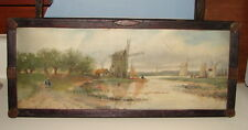 ANTIQUE LANDSCAPE OIL PAINTING OF DUTCH WINDMILLS ALONG A LAKE