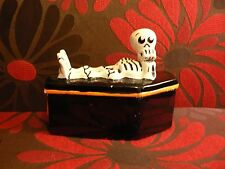 Skeleton Casket Ceramic Trinket Box Funny Halloween Home Holiday Decor