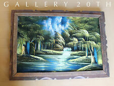 PARADISE!  MID CENTURY WATERFALL PAINTING 50's Modern Orig. Art Eames Vtg Forest