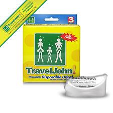 TravelJohn Resealable Disposable Urinal (3 Pack) Portable Urine Toilet Pee Bag