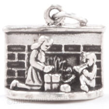 3D CHRISTMAS FIREPLACE gifts by the fire boy girl Charm Pendant Sterling Silver