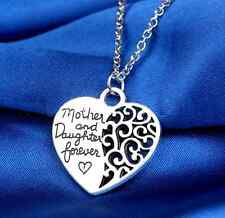 Valentine Mother And Daughter Forever Silver Heart Pendant Chain Necklace WCA-1
