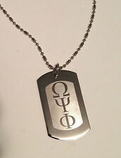 OMEGA PSI PHI, DOG TAG , SILVER W/ ENGRAVED LETTERS AND CHAIN