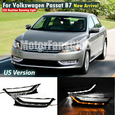 LED Daytime Running Light For VW Passat B7 DRL Fog 2011 2012 2013 With Signal