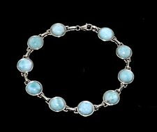 Larimar Bracelet Ten 8mm Cabochon 20ct TW Bezel Set  925 Sterling Silver.