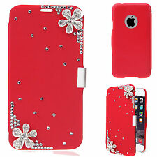"""3D BLING LUXURY PU LEATHER FLIP CASE COVER FOR APPLE iPHONE 6 4.7"""" & iPHONE 5C"""