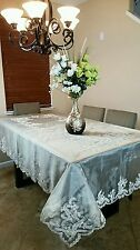 "72x144"" Elegantlinen Handmade Beaded Pearl Sheer Embroidery Tablecloth Napkins"