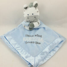 """Carter's Zebra """"This is What Handsome Looks Like"""" Security Blanket w/ Rattle NWT"""