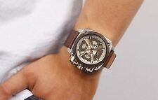 DIEZEL DZ7343 Chronograph Gunmetal Brown Leather Strap Square Steel Men Watch