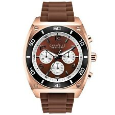 Caravelle New York Men's  Brown Dial Rose Gold Steel Brown Strap Watch 45A114