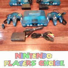 1 ICE BLUE Nintendo 64 Console + AC Power + AV Cable + 2 BRAND NEW CONTROLLERS