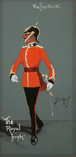 SNIPER / SNAFFLES -British Artist-Original Signed Gouache-Royal Irish Regiment