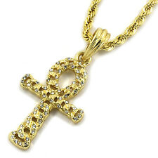 "Mens 14K Gold Plated Ankh CZ Cross Pendant Hip-Hop 3mm/24"" Rope Chain"